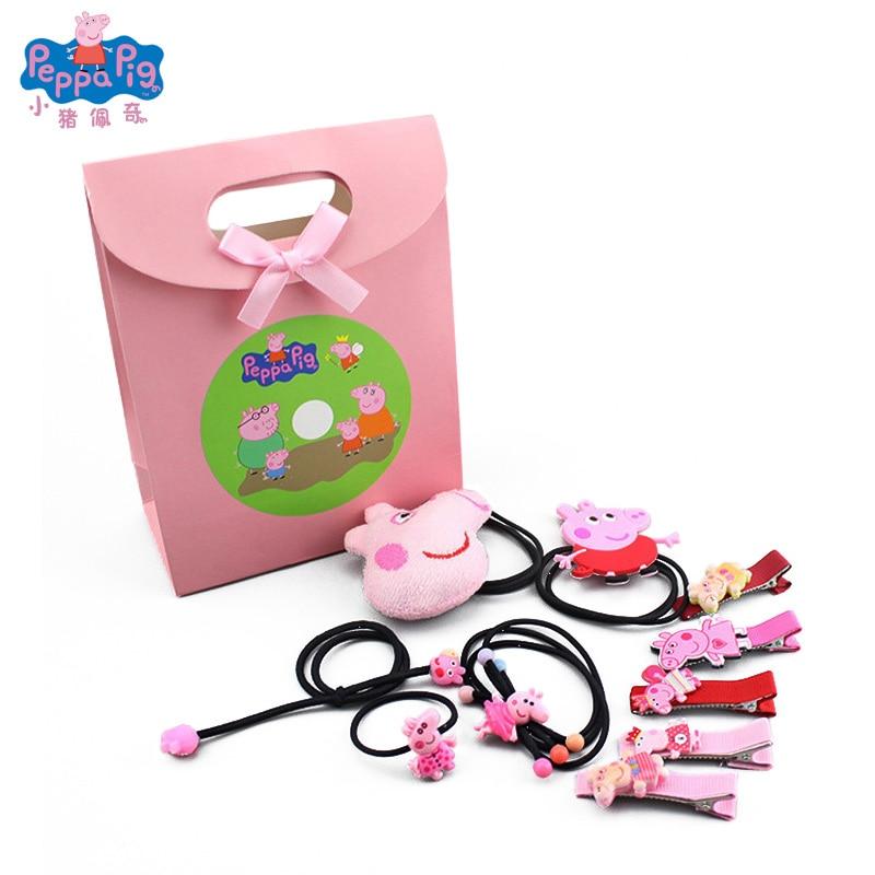 Peppa Pig Fashion Trend New Girl Hairpin Rope Set Cartoon Cute Headdress Suit Movie Anime Surrounding Stuffed Toys