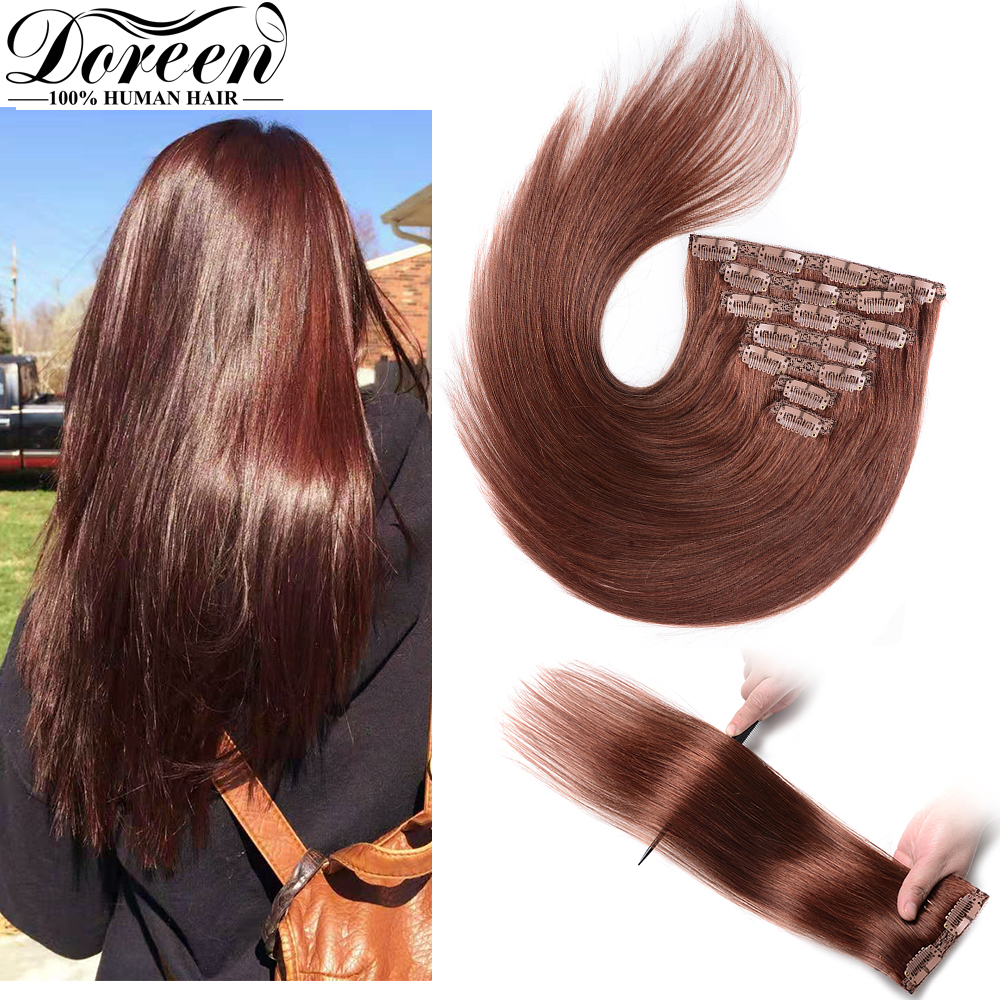 Doreen  280g Natural Hair Clip On Machine Made Remy Full Head Clip In Human Hair Extensions For Short Hair