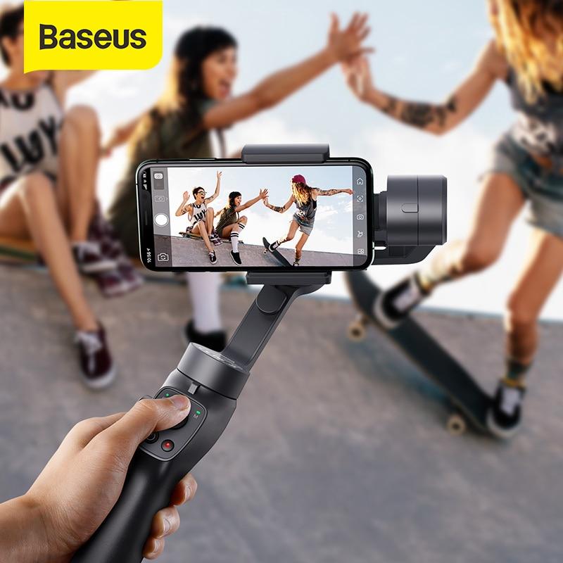 Baseus 3-Axis Wireless Bluetooth Handheld Gimbal Phone Stabilizer For IPhone 11 8 Gimbal Tripod Gimbal Smartphone Selfie Stick