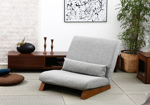 Floor Folding Single Sofa Chair  With Ottoman Japanese Style Lounge Recliner Occasional Accent Chair For Living Room Furniture 5