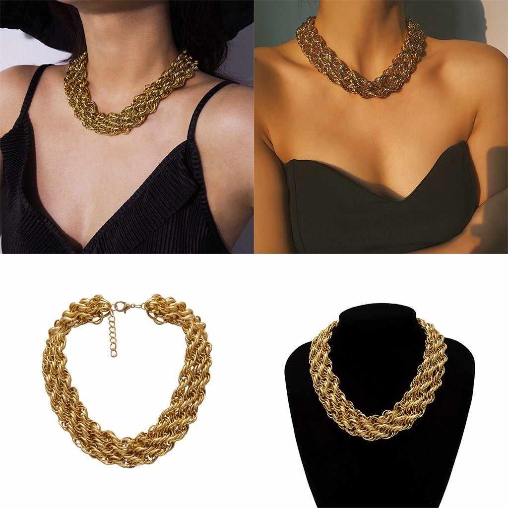 Duże proste Retro osobowość przesadzone wielowarstwowe Twist naszyjnik łańcuch aluminium złoty gruby łańcuch naszyjnik kobiety biżuteria # ZD