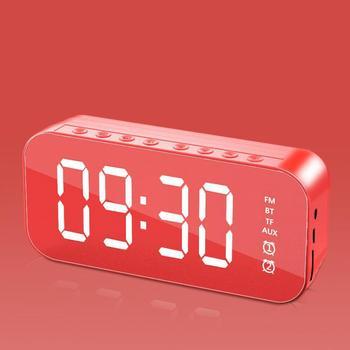 Wifi Mini budzik Bluetooth głośnik z radiem FM lustrzany budzik LED zegar Subwoofer odtwarzacz muzyczny drzemka zegar na biurko bezprzewodowy tanie i dobre opinie HAIMAITONG Brak funkcji CN (pochodzenie) Other alarm clock Audio Wireless Speaker Support Dual Alarm Clock