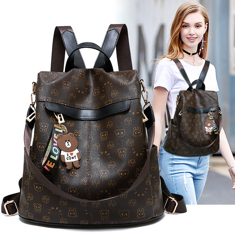 2018 One-Shoulder Korean-style-Style Fashion Versatile Anti-Theft WOMEN'S Backpack Casual Pu Soft Leather Cool Hipster Backpack