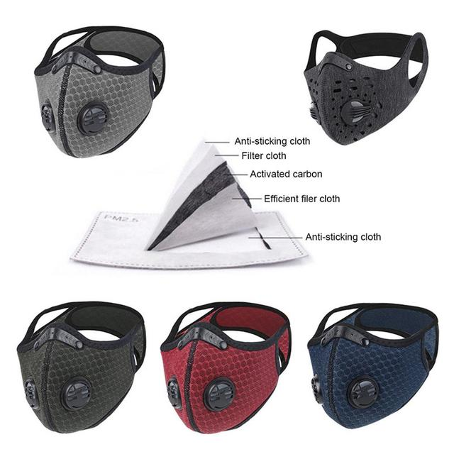 Face Mask With Filter Activated Carbon PM 2.5 Anti-Pollution Mask Washable Dustproof Reusable Respirator Mask