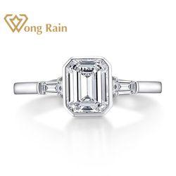 Wong Rain 925 Sterling Silver Emerald Cut Created Moissanite Gemstone Diamonds Wedding Engagement Ring Fine Jewelry Wholesale
