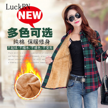 LuckBN Thickened Warm Plaid Blouse Pure Cotton Shirts Women Blouses Tops Chequered Winter Shirt Long Sleeve Slim Top Female