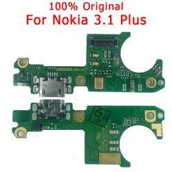 Oryginalny Port ładowania wtyczka USB złącze dokowania PCB kabel Flex wymiana części zamiennych płyta ładowania dla Nokia 3.1 Plus