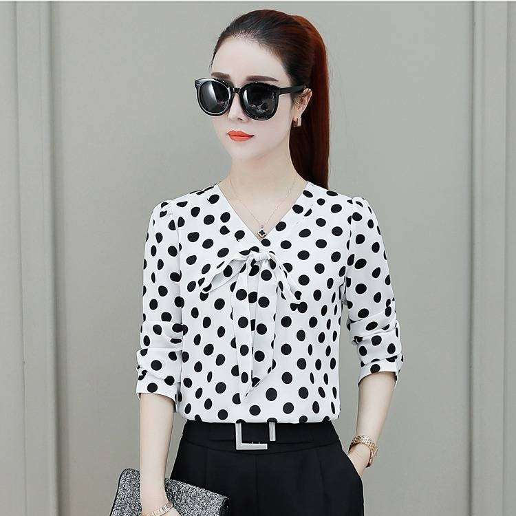 Spring And Summer New 2020 Korean V Neck Bow Dot Ladies Tops Plus 5xl Fashion Print Vintage Blouse Women Loose Clothing