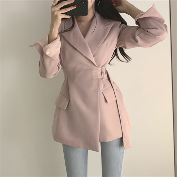 H08f590f5697b4c39bef0989e97471d57A Colorfaith New 2019 Autumn Winter Women Jackets Office Ladies Lace up Formal Outwear Elegant Solid Pink Black Tops JK7042