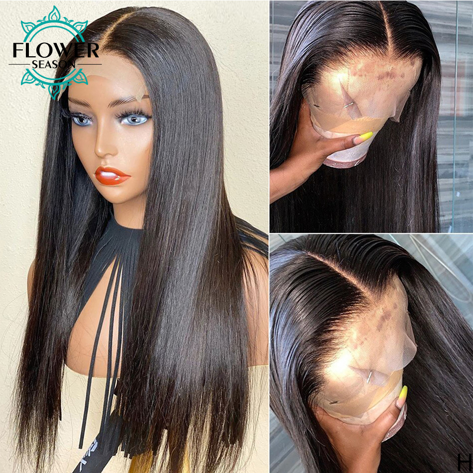 5*4.5 Silk Base Human Hair Wigs PrePlucked Silky Straight Ful Lace Wig Indian Remy Hair With Baby Hair Bleached Knots 130% Fo