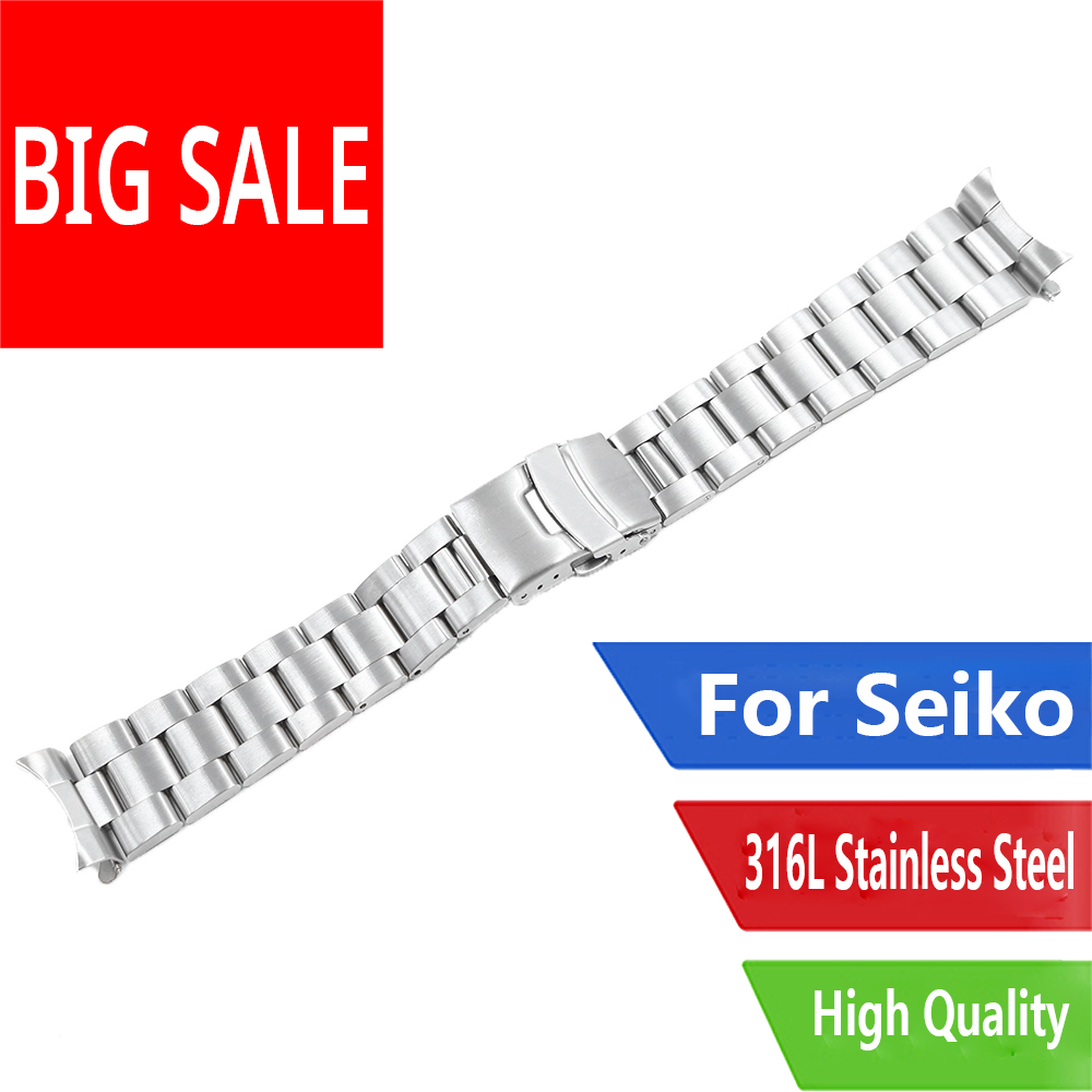 CARLYWET 20 22mm Silver Brushed Hollow Curved End Solid Links Replacement Watch Band Bracelet Double Push Clasp Oyster For Seiko