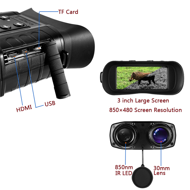 WG550B 500M HD Night Vision Binoculars Cameras 20×31 Telescope Hunting Optical 850nm IR HD Night Vision Binocular Night Goggles 4