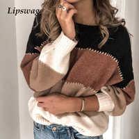 Lipswag 5XL Mode Patchwork Oansatz Pullover Frauen 2019 Herbst Winter Langarm Gestrickte Pullover Pullover Weibliche Tops Jumper