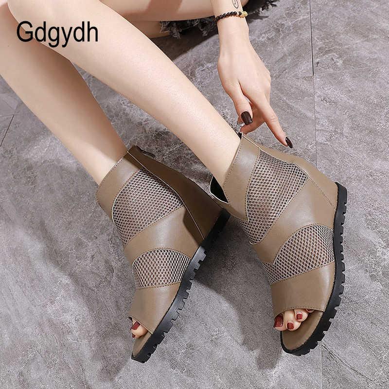 Gdgydh Retro tarzı burnu açık ayakkabı kadın yaz çizmeler yüksekliği artan içi boş örgü nefes avrupa ayakkabı kadın siyah 2020