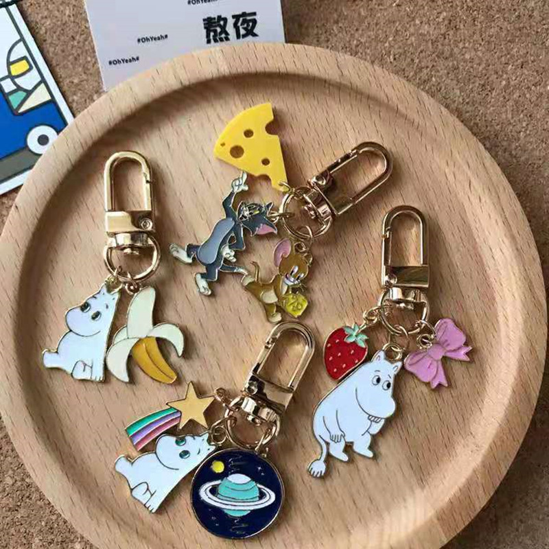 Moomin Mummi Keychain 2019 New Arrival Fashion Unisex Hippo Character Plush Keychain  Romantic Cartoon Metal Key Ring