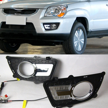 LED Daytime Running Light For Kia Sportage 2009 2010 Dimming Style Relay Waterproof ABS 12V Car LED DRL Lamp Daylight 2PCS цена 2017