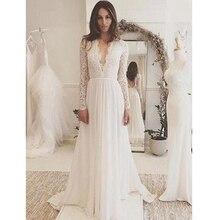 Verngo Boho Hochzeit Kleid 2020 Langarm Spitze Appliques Chiffon Brautkleid Sommer Strand Braut Kleid Robe Mariage