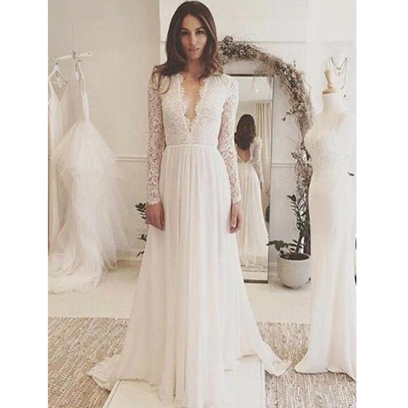 Verngo Boho Wedding Dress 2019 Long Sleeve Lace Appliques Chiffon Wedding Gown Summer Beach Bride Dress Robe Mariage