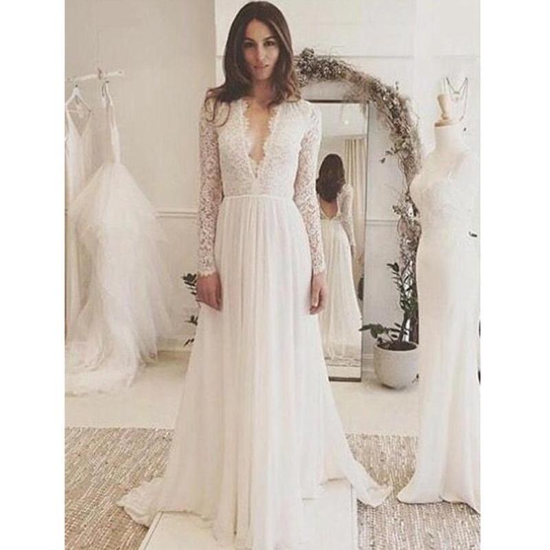 Verngo Boho Wedding Dress 2019 Long Sleeve Lace Appliques Chiffon Wedding Gown Summer Beach Bride Dress Robe Mariage
