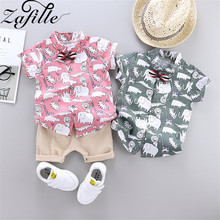 ZAFILLE Boys Clothing Elephant Printed Short Sleeve Toddler Infant Baby Boy Outfits Set For 0-3T Cotton Kids Clothes Boys Suits summer infant clothes cotton short sleeve tops pants baby toddler boy clothing sets kids children boys outfits suits