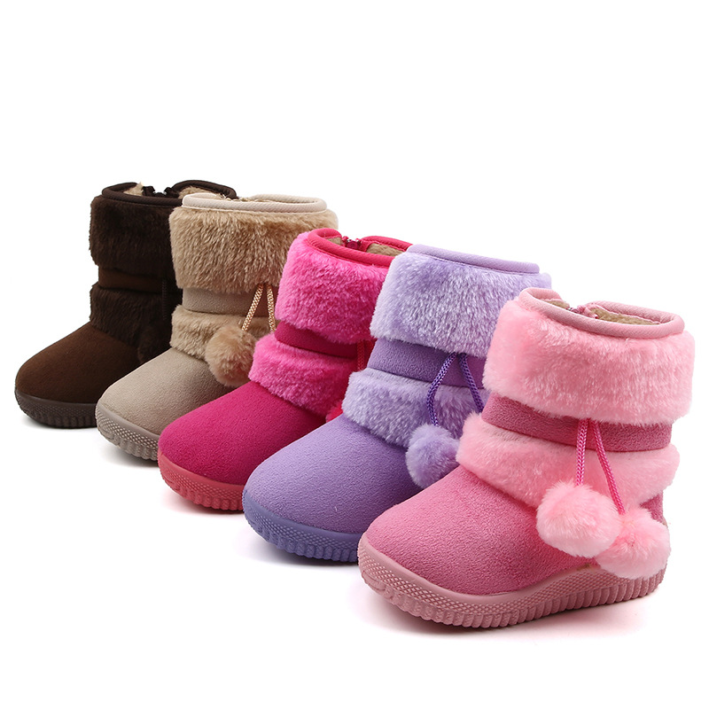 SKOEX Babys Girls Cute Pom Pom Winter Warm Snow Boots For Toddler Little Kids Ankle Boots Fur Lining Princess Children Shoes