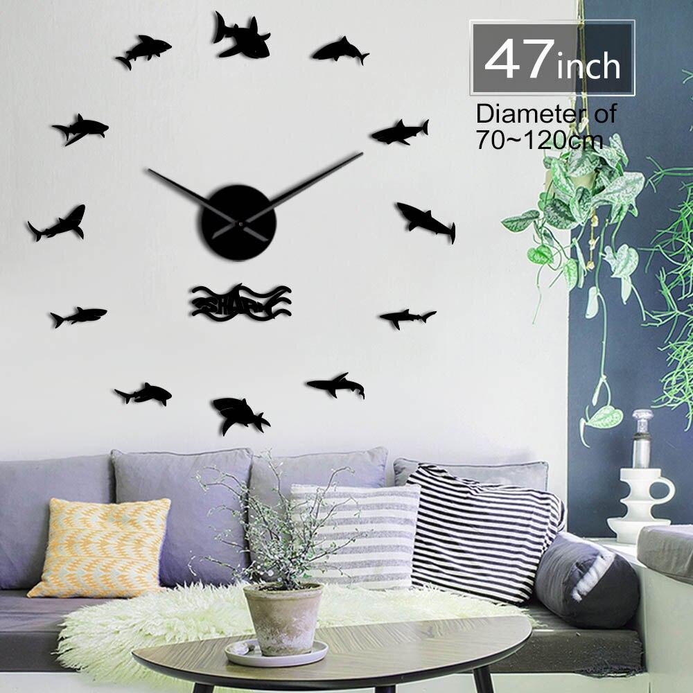 Océan requins Stickers muraux grande horloge murale vie Marine grand requin blanc enfants chambre bricolage 3D décoration horloge murale