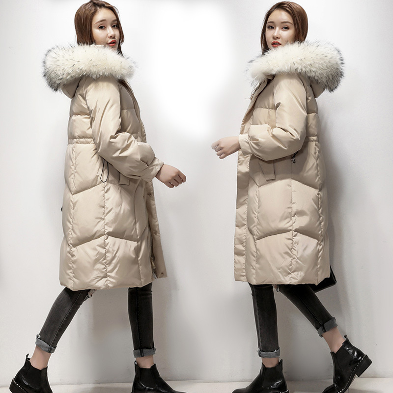 Women's Winter Down Jacket Hooded Raccoon Fur Collar Long Warm Duck Down Coat Overcoat Jackets For Women 2020 KJ2817