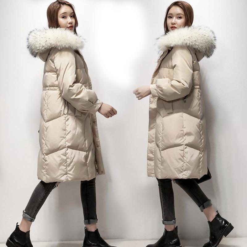 Women's Winter Down Jacket Hooded Raccoon Fur Collar Long Warm Duck Down Coat Overcoat Jackets For Women 2020 KJ2817