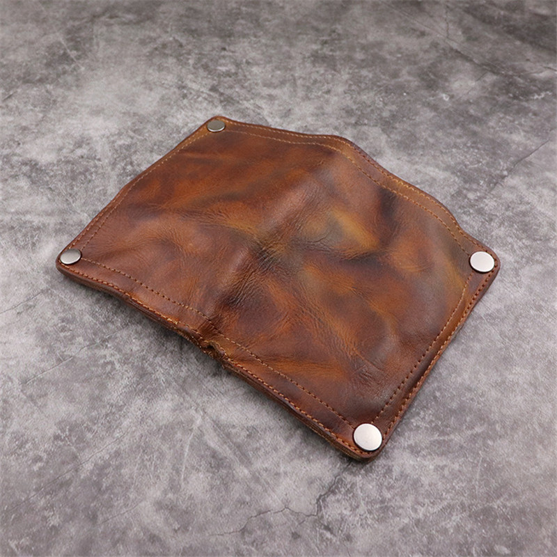 PNDME vintage genuine leather men's women's wallet simple luxury real cowhide handmade multi-card holder female small purse