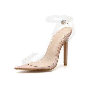 Image 3 - 2020 חדש נעלי נשים שקוף מילת Pvc באיכות גבוהה פגיון סנדלי עירום צבע גבוהה עקבים Bly1635 36 יוקרה מותג