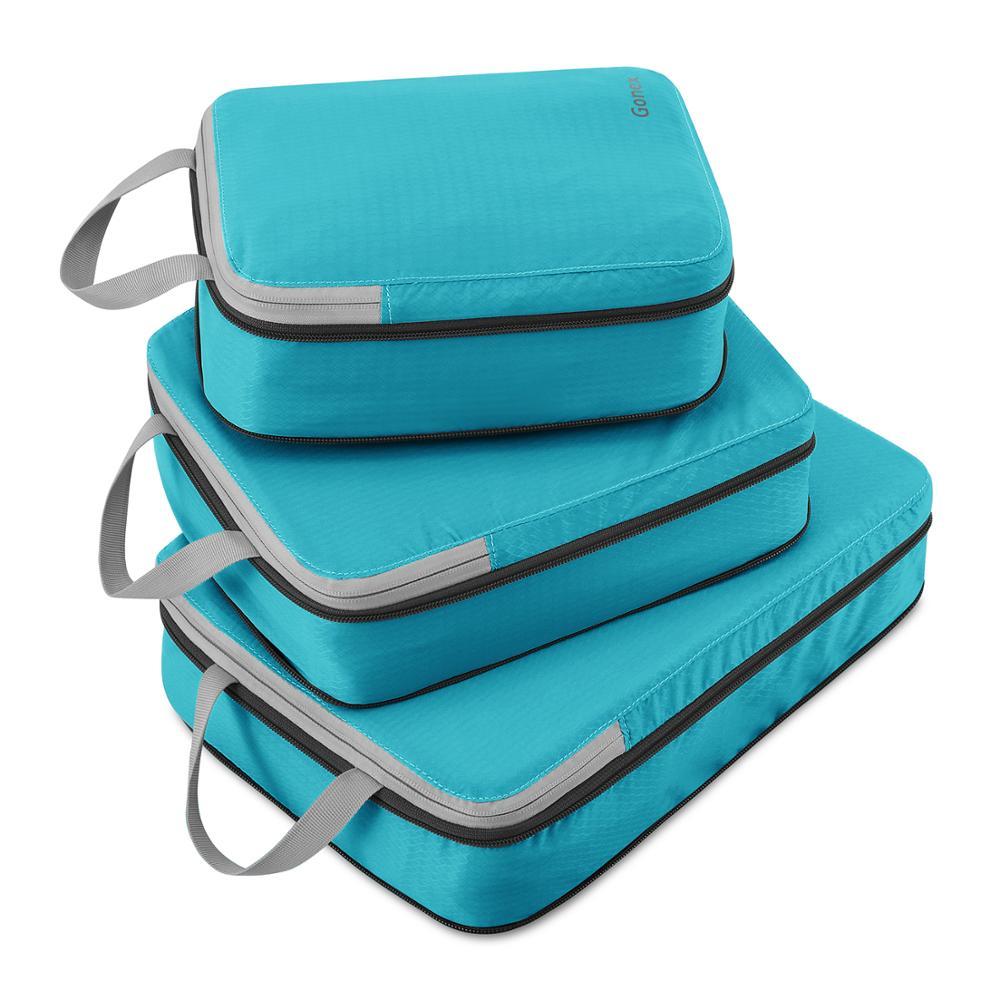 Дорожная сумка для хранения Gonex 3 шт./компл., чемодан, органайзер для багажа на застежке, компрессионная упаковка для одежды, кубики, подарок д...