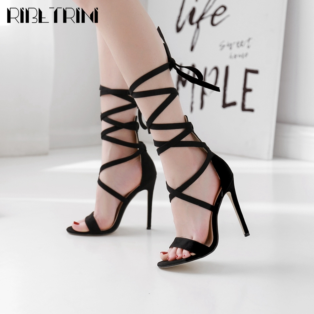 RIBETRINI Female Open Toe Ankle Strap Cover Heel Shoes Fashion Summer Party Women Sandals Brand Casual Designer Sandals