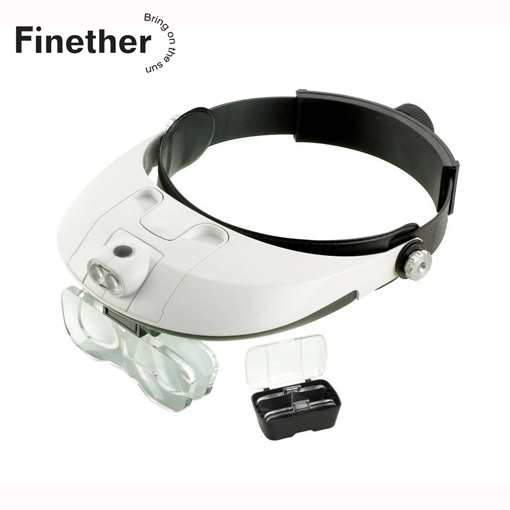 Finether Adjustable Headlamp Detachable LED Headband Illuminated Magnifier With 5 Replaceable Lens 81001-G