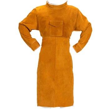 105 см Кожаный сварочный фартук огнестойкий с длинным рукавом сварщик защитная одежда прочный износостойкий анти-обжигающий фартук