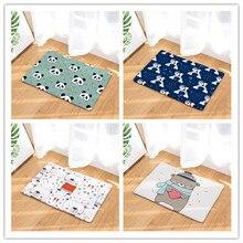 Flannel Bear door mats Household bathroom door mats foot mats long bedroom mats soft flannel funny go away door mats