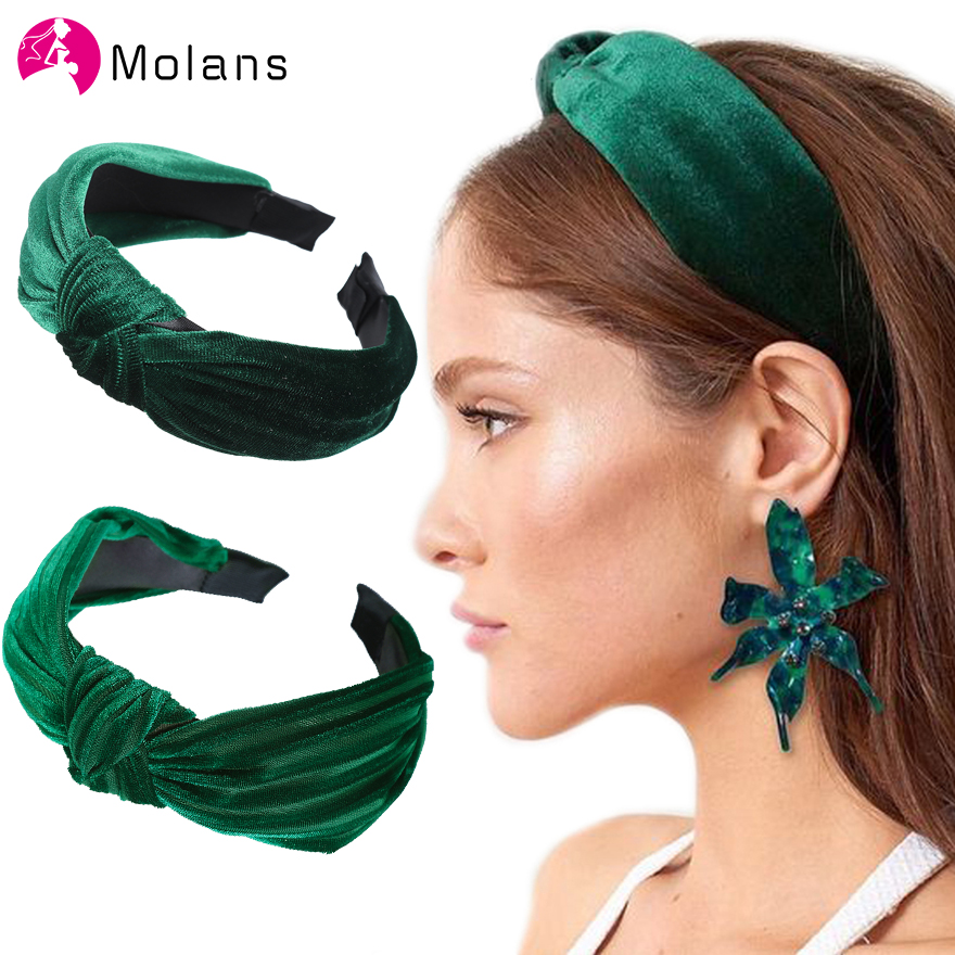 MOLANS Hair Accessories For Women Solid Style Simulation Knotted Crossed Gold Velvet Headband Fashion Wide Hair Hoop Hairband