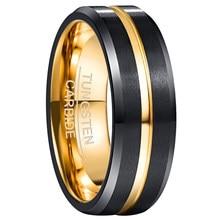 Anneau en carbure de tungstène 2019 galvanisé, 8mm de large, noir + surface givrée dorée, anneau en acier au tungstène
