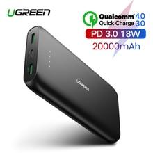 Ugreen внешний аккумулятор 20000 мАч, быстрое зарядное устройство для телефона, быстрая зарядка 4,0 QC3.0, портативный внешний аккумулятор для iPhone 11, XiaoMi PD, внешний аккумулятор