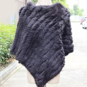 Image 3 - Women Genuine Real fur shawl Knitted Rabbit Fur Poncho Wrap scarves female natural rabbit fur Shawl triangle Cape pashmina