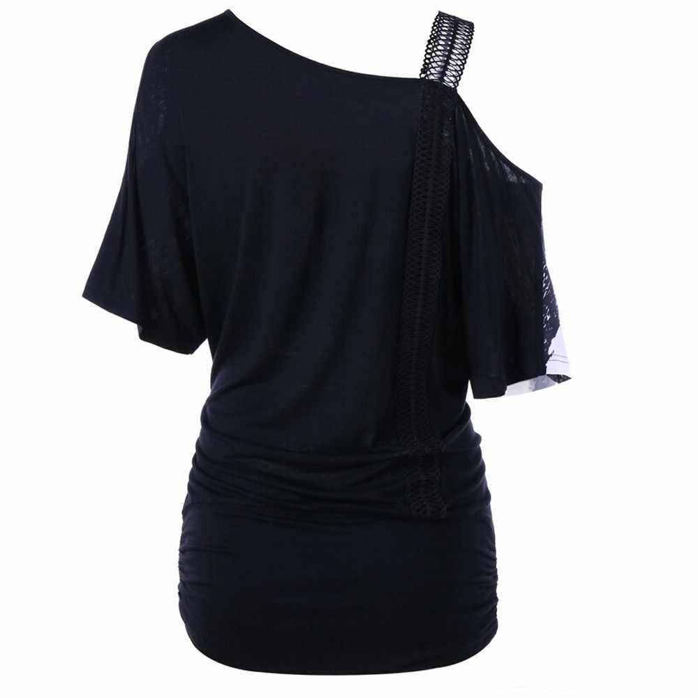 패션 숙녀 스웨터 여성 숄더 스트랩 탑 Strapless Skew Collar 꽃 프린트 Anime Clothes 블랙 화이트 탑스