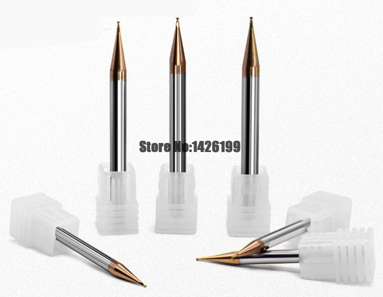 1pc Micro End Mill 0.2mm 0.3mm 0.4 0.5 0.6 0.7 0.8 0.9mm 2 Flutes HRC60 Carbide Flat Square CNC Milling Cutters Sprial Router