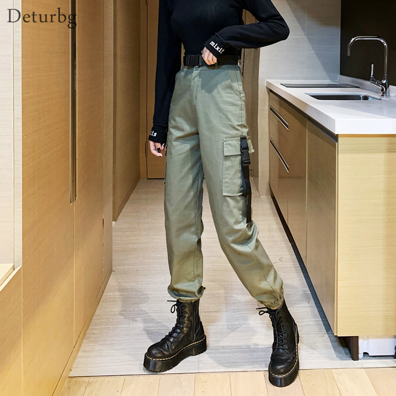 Women's Fashion Cargo Pants With Belt Female Hip Hop Streetwear High Waist Cotton Black Trousers Pencil Pants 2019 Autumn PA82