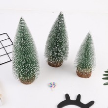 Tabletop Christmas Tree Miniature Pine Frosted With Colorful LED Design Trees Wood Base Crafts Home Decor Ornaments