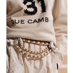 Cosmicchic Sweatshirt Women Pullover Beading Runway Long-Sleeved Sport Hoodie Flower-Letters