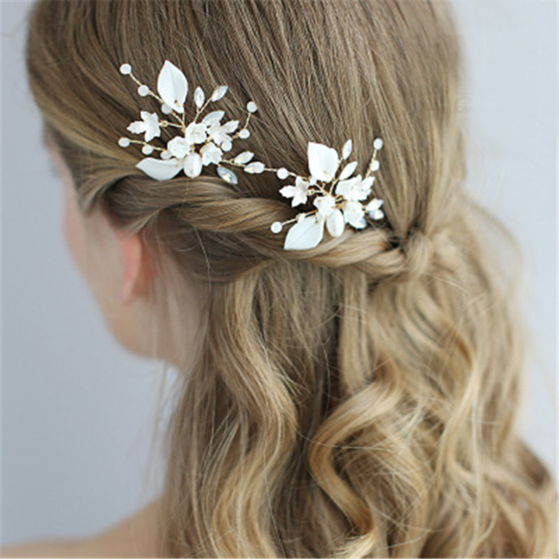 2Pcs Floral Bridal Wedding Hair Comb Wedding Jewelry Accessories Hairpin For Bride Handmake Hairpin White Pearl Leaf Stick Pin