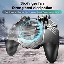 AK77 Six Finger PUBG Game Controller Gamepad Trigger Shooting Joystick Gamepad Handle Power Bank For IOS Android Mobile Phone pubg controller for games android ios gamepad shortcut button game assisted shooting handle peripheral pubg controller