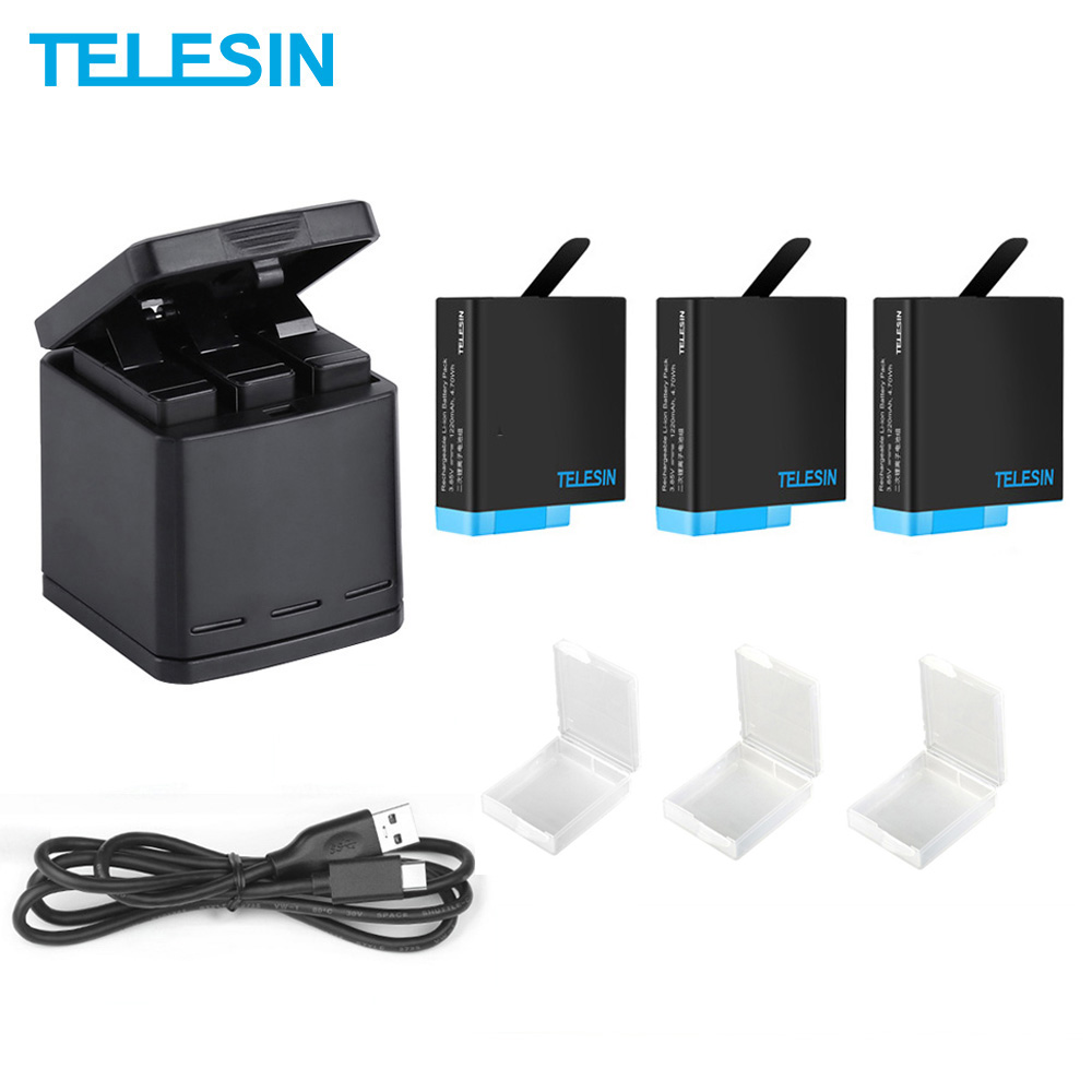 TELESIN 3 Pack Battery For Hero 8 Charger 3 Slots LED Storage Box For GoPro Hero 8 7 Black Full Decode Camera Accessories