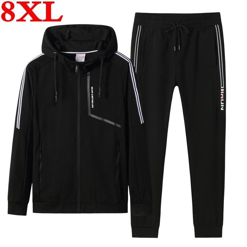 2020 New  Plus Size  8XL 7XL Men's Set Spring Autumn Man Sportswear 2 Piece Sets Sports Suit Jacket+Pant  Sweatsuit Male