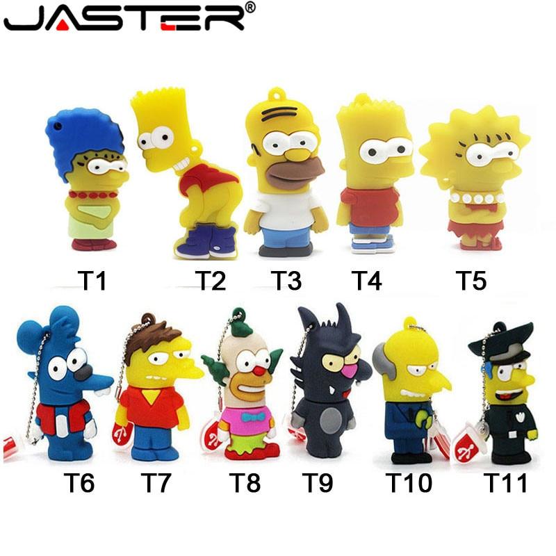 JASTER USB 2.0 Silicone Model Bart Simpson 4GB 8G 16GB 32GB 64GB Memory Stick PenDrive U disk Pen Drive Cartoon USB Flash Drive