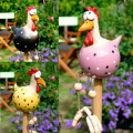 Chicken Decor Yard Art Decor Lawn Plug Hen Rooster Ornaments Hens Bird Statues Edge Seater Indoor Outdoor Backyard Decorations